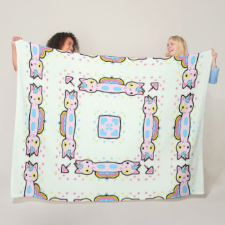 Girl's Cute Adorable Unicorn Cat Mandala Quilt Fleece Blanket