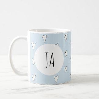 Girl's Cute Heart Doodle Pattern Monogram Simple Coffee Mug