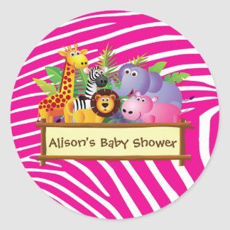 Girls cute jungle safari baby shower favor favours round sticker