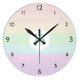 Girl's Cute Rainbow Color Pastel Monogram Nursery Large Clock