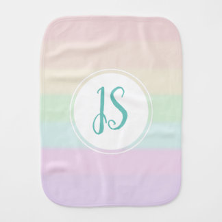 Girl's Cute Striped Rainbow Color Pastel Monogram Burp Cloth