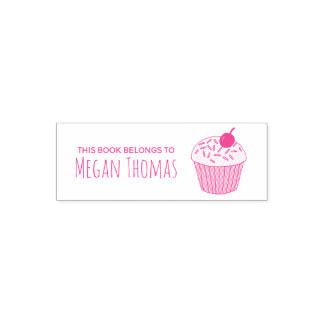 Girl's Cute This Book Belongs Cupcake Muffin Name Self-inking Stamp