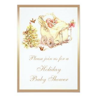 Girls Cute Vintage Christmas Baby Shower 13 Cm X 18 Cm Invitation Card