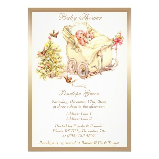 Girls Cute Vintage Christmas Baby Shower Invites