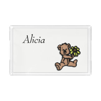 Girls Daisy Bear Design Name Acrylic Tray