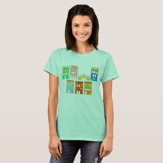 Girls designers t-shirt Cyan with homes