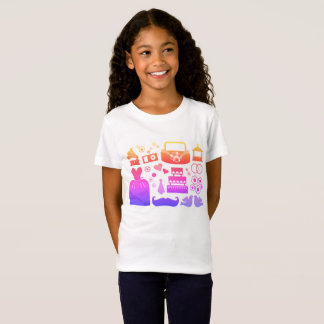 Girls designers t-shirt with Wedding icons