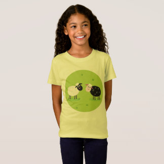 Girls designers t-shirt yellow with Lambs