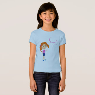 Girls designers tshirt : blue with School girl