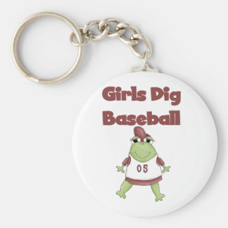 Girls Dig Baseball T shirts and Gifts Basic Round Button Key Ring