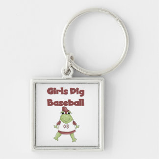 Girls Dig Baseball T shirts and Gifts Silver-Colored Square Key Ring