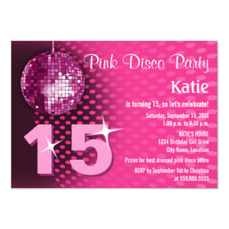 Girl's Disco Birthday Party 5x7 Paper Invitation Card
