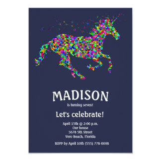Girl's Editable Colour Unicorn Birthday Party Card