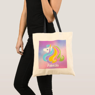 Girls Fantasy unicorn add name tote bag