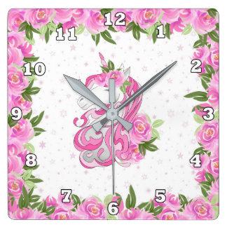 Girls Fantasy unicorn decor clock