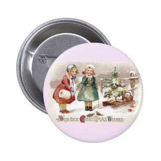 Girls Feeding Birds and Sled with Tree Vintage Pin