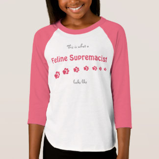 "Girls' ""Feline Supremacist"" Raglan Shirt"
