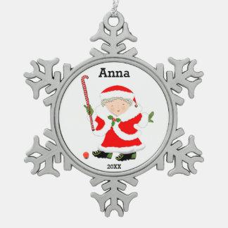 girls field hockey pewter snowflake decoration