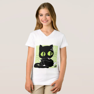 Girls' Fine Jersey V-Neck T-Shirt Cat black