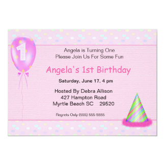 Girl's First Birthday Invitation