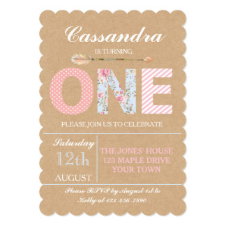 Girls First Birthday Invitation - Shabby Chic