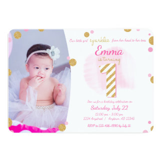 Girls First Birthday Pink Gold Sparkly Invitation