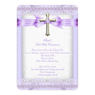 Girls First Holy Communion Cross Pretty Lavender 13 Cm X 18 Cm Invitation Card