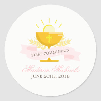 Girls First Holy Communion Round Sticker
