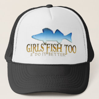 GIRLS FISH TOO WALLEYE TRUCKER HAT