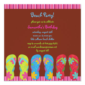 Girl's Flip Flop Beach Party Photo Invite