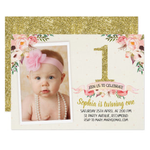 1st birthday invitations announcements zazzle girls floral faux gold 1st birthday invitation filmwisefo Image collections