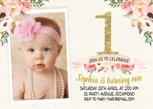 1st birthday invitations announcements zazzle girls floral faux gold 1st birthday invitation filmwisefo