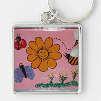 girls flower garden Silver-Colored square key ring