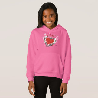 Girls' Flying Heart Fleece Pullover Hoodie