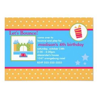 Girls Fun Bounce House Birthday Party Card