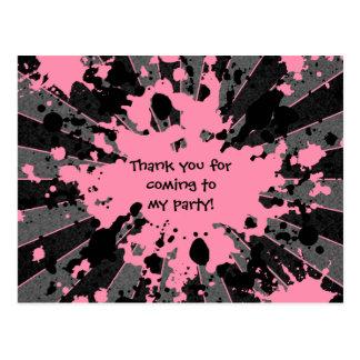 Girls funky pink paint splatter paintball birthday postcard