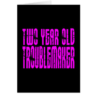 Girls Funny Birthdays : Two Year Old Troublemaker Note Card