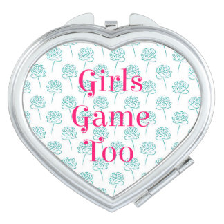 Girls Game Too Heart Compact Mirror