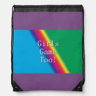 Girls Game Too Rainbow Drawstring Backpack