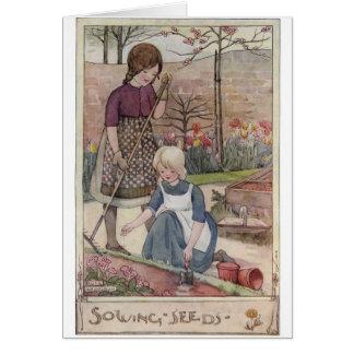 Girls Gardening & Sowing Seeds - Card