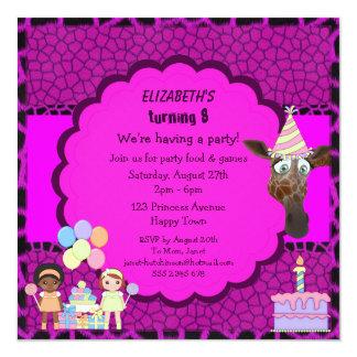 "Girls, Giraffe & Cake Pink & Purple Animal Print 5.25"" Square Invitation Card"