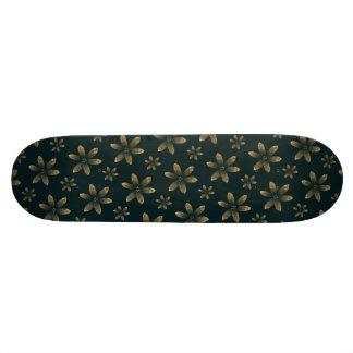 Girls Gold Floral Pattern Skate Deck