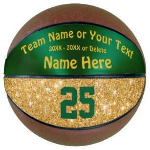 Girls Green and Gold Personalised Basketball Ball