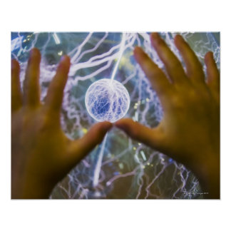 Girls hands on a plasma ball poster
