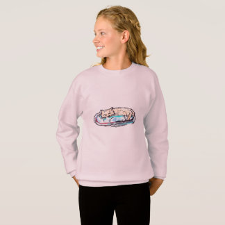 GIRLS' HANES COMFORTBLEND SWEATSHIRT - SLEEPY CAT