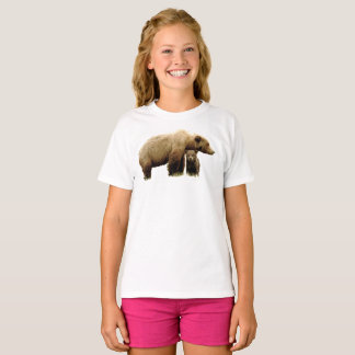 Girls' Hanes TAGLESS® T-Shirt with grizzly bear