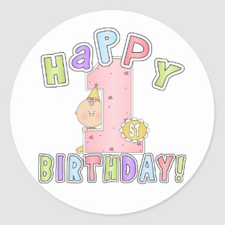 Girls Happy 1st Birthday Round Sticker