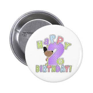 Girls Happy 2nd Birthday African American Buttons