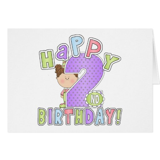 Girls Happy 2nd Birthday Greeting Card