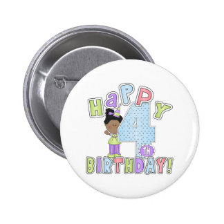 Girls Happy 4th Birthday African American Pinback Buttons